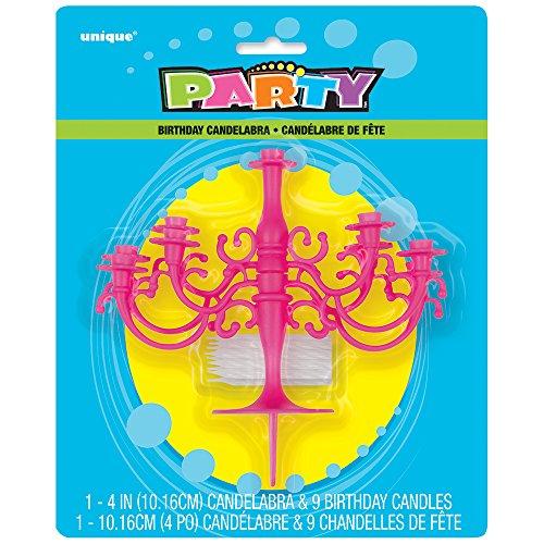 Unique Party Supplies Hot Pink Kandelaber Tortenaufsatz & Geburtstag Kerze Set