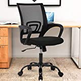 Mesh Office Chair with Lumbar Support Ergonomic Executive Desk Chair Adjustable Stool Rolling Swivel Rocking Mid Back Computer Task Chair,Black