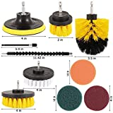 NOBRAND 13pcs / Set Taladro eléctrico del Kit de Cepillo de Fregar Pad Power Kit depurador de Limpieza Cepillo de Limpieza de alfombras Estropajo de Cristal Coche Limpio (Color : Yellow)