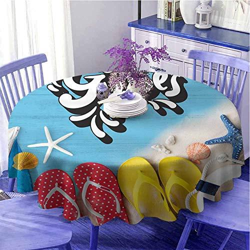 Good Vibes Runde Tischdecke, Flip-Flops und Meeresmuscheln auf Holzbohlen, Sommerurlaub, Schutz, Tisch, Durchmesser 99,1 cm, mehrfarbig