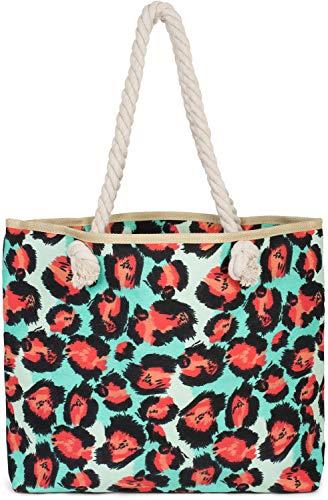 styleBREAKER dames strandtas met luipaardprint en rits, schoudertas, shopper 02012277, Farbe:Turkoois-rood