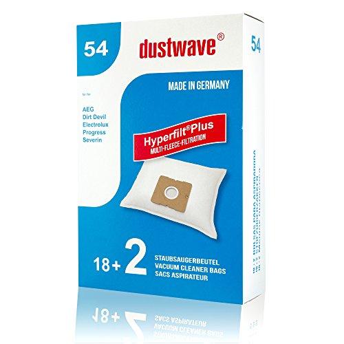 Megapack - 20 Staubsaugerbeutel geeignet für Progress - PC 2469 DB Staubsauger/dustwave® Markenstaubbeutel/Made in Germany + inkl. Microfilter