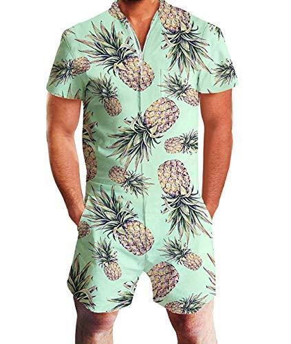 Idgreatim Men Cute 3D Graphic Pineapple Jumpsuit Short Sleeve Knee Length Pant Rompers