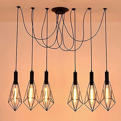 Candelabro industrial de hierro forjado, luces colgantes de araña de múltiples cabezas, lámpara de techo para tienda Loft Cafe, 6/10 luces, luces de suspensión colgantes...