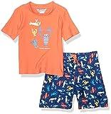 Tommy Bahama Boys' Rashguard and Trunks Swimsuit Set, Orange Lobsters, 4T