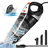 Car Vacuum, LOZAYI Corded Car Vacuum Cleaner High Power 5000PA Wet/Dry Portable Auto Car Vac with 16.4FT Power Cord, Carry Bag, HEPA Filter for Quick Car Cleaning-Orange