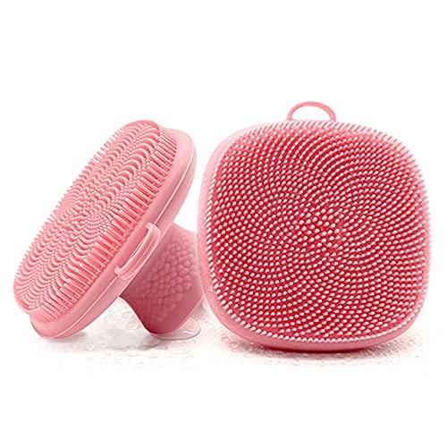 Spazzola Esfoliante Viso in Silicone, Morbida Spazzola Manuale Detergente per la Pulizia del Viso per Esfoliazione e Massaggio Pori per Tutti i Tipi di Pelle, Confezione da 2 Pezzi (2xpink)