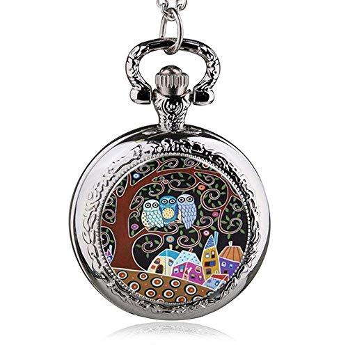 ZHFF Reloj de Bolsillo Moda Plata Acero Inoxidable Árbol de la Vida...