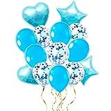 yyuezhi 14 Piezas Juego de Globos de látex Globos en Forma de Corazón y Estrella para Bodas Decoración de Fiesta de Cumpleaños Duchas de Novia y Bebés Globo Estrella Globo Corazón (Azul)