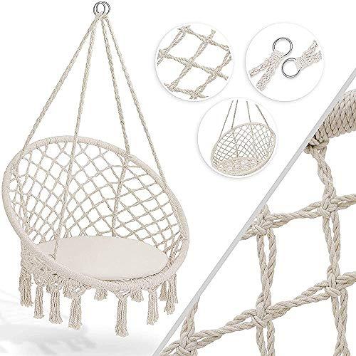 Ascensores 150 kg, con dos puntas de acero tejidas sillas anillo de asiento cesta colgante cesta del jardín resistente a la intemperie cubierta, a prueba de agua, beige,Beige