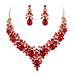 Brilliant flower cluster jewelry set with pear-shaped drop for bridesmaid or bride. Made of crystals. Wearing this kind of jewelry will make you more eye-catching. It will be an ideal gift for your girlfriend, wife, fiancee, daughter, mother, your sp...
