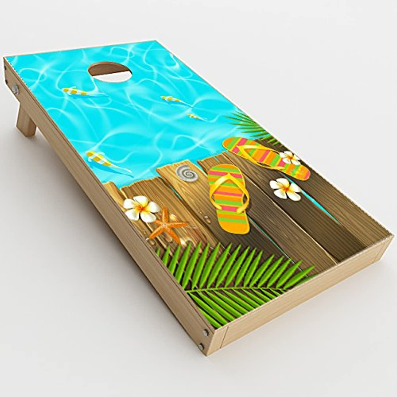 Skin Decals Vinyl Wrap for Cornhole Game Board Bag Toss (2xpcs.) / Flip Flops and Fish Summer