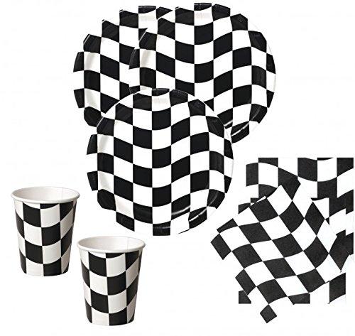 50 Teile Schwarz Weiß Formel 1 Party Set für 16 Personen