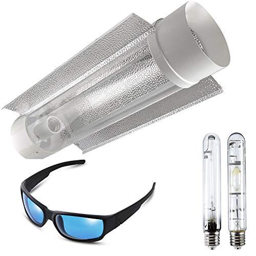 iPower Cool Tube Reflektor und 1 Pack HPS & MH Grow Room Light Glasses Combo Set für Indoor Gardening, 400 W