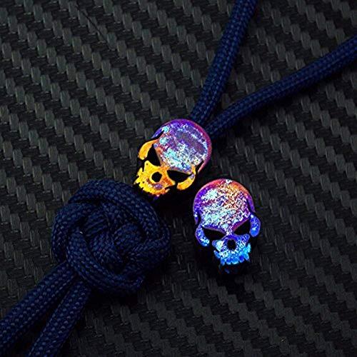 Aibote Anhänger für Paracord-Schnur, Titanlegierung, TC4, Messer, Perlen, Outdoor, Camping-Gadgets, multifunktionale Verwendung Skull-C-Colorful