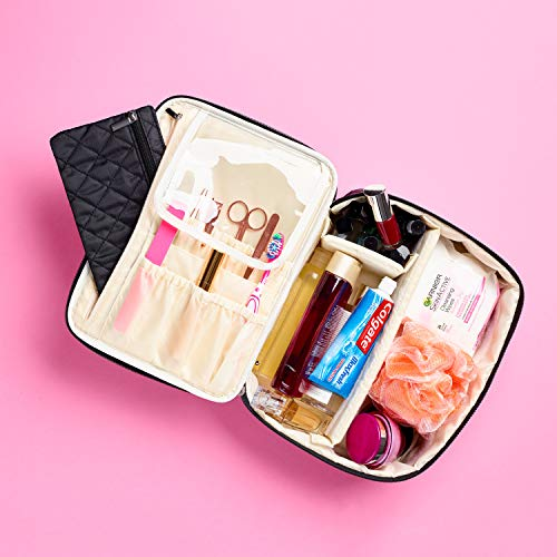 Travel Makeup Bag By Ellis James Designs - Elegant, Large Compartment Makeup Bags for Women - Safely Store Make up, Toiletries, Cosmetics And Travel In Style - Ideal Luxurious Gift For Women - Black