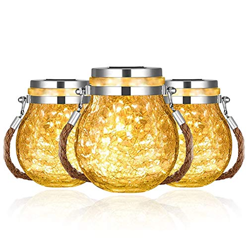COMY 3 Pack Mason Jar Light, Hanging Solar Light for Outdoor IP65 Waterproof Glass Jar Fairy Lights Solar Lanterns for Garden, Balcony, Bedroom, Party, Yard, Wedding