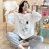 N-B Cute Cartoon Snoopy Cotton Pajamas, Pregnant Women, Spring and Autumn Postpartum Delivery Clothes, Breastfeeding and Nursing Clothes