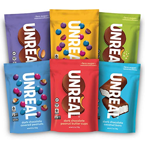 UNREAL Vegan Variety Pack | Less Sugar, Fair Trade, Non-GMO | 6 Bags by Unreal Brands