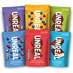 VEGAN VARIETY PACK includes 6 bags, 1 bag of each of our 6 vegan products: Dark Chocolate Peanut Butter Cups, Crispy Quinoa Peanut Butter Cups, Almond Butter Cups, Peanut Gems, Crispy Quinoa Gems and Coconut Bars. LESS SUGAR: we keep sugar to a minim...