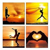 海景キャンバス絵画ビーチの人々壁アートポスター4ピース美しい夕日HDプリント家の装飾現代写真30 * 30CMフレームなし