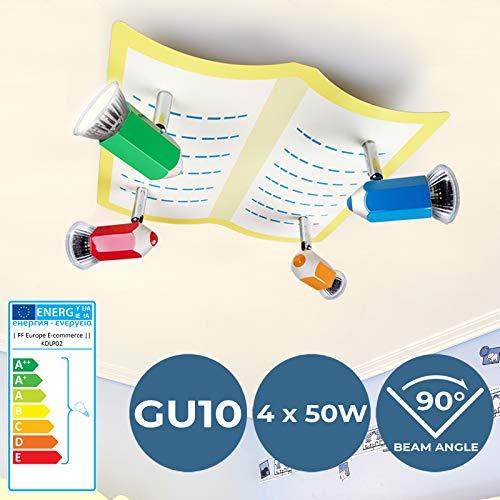 LED Bleistift-Deckenlampe - EEK: A++ bis E, 4-flammige, GU10, 30x13x29cm - Kinderzimmerlampe, Deckenleuchte, Deckenstrahler, Babylampe - für Jungenzimmer, Mädchenzimmer, Wohnzimmer, Schlafzimmer