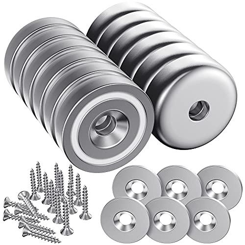 MOJINO 12 Stück Magnete, 10 KG/22 Pounds Magnete 20MM X 6MM mit Stahlkapsel, Magnete Klein Einstellen mit 6 Stahlscheiben und 18-Teiligen M4-Schrauben