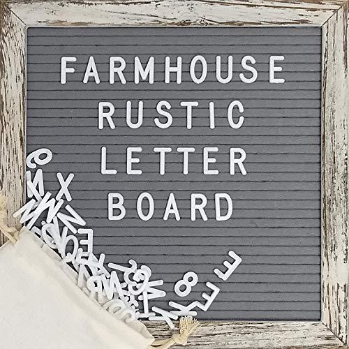Felt Letter Board with 10x10 Inch Rustic Wood Frame, Script Words, Precut Letters, Picture Hangers, Farmhouse Wall Décor, Shabby Chic Vintage Décor, Grey Felt Message Board