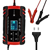 YMSWTF Completamente Automatico Batteria Car Charger 12V 8A 24V 4A Intelligente di Ricarica Rapida for Display LCD Acid Battery Charger AGM Gel Wet Piombo (Color : A Red EU Plug)