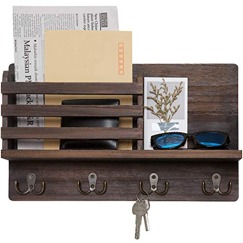 Dahey Wall Mounted Mail Holder Wooden Key Holder Rack Mail Sorter Organizer with 4 Double Key Hooks and A Floating Shelf Rustic Home Decor for Entryway or Mudroom,15.8' W x9.5 'Hx2.7 'D, Brown