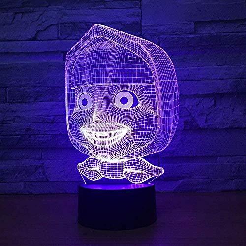 Lámpara de luz 3D 7 colores dibujos animados7 colores que cambian la luz del sueño decoración regalo juguetes para el hogar bebé acrílico niños decoración habitación cumpleaños-16 color remote control