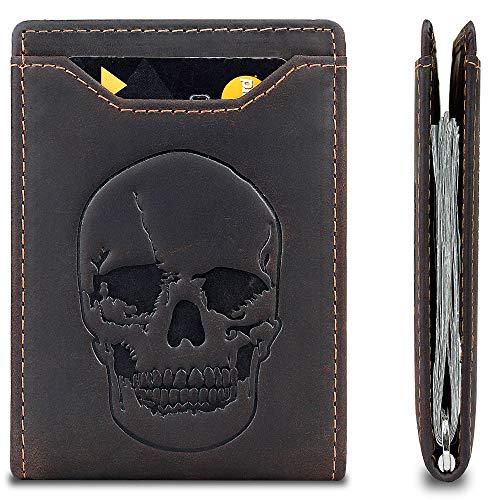 Mens Skull Wallet Minimalist Slim Bifold Front Pocket Wallet with Money Clip - RFID Blocking - Genuine Leather (Coffee A)