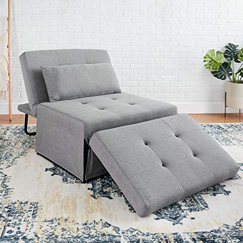 First Hill Folding Ottoman Sleeper Leisure Bed, 4 in 1 Multi-Function Adjustable Ottoman Bench Guest Sofa Chair Sofa Bed, Upscale Grey