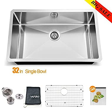 VAPSINT JZX005S Modern Commercial 32 Inch Drop In Stainless Steel Single Bowl Undermount Kitchen Sinks, 18 Gauge Bar Sink with Gifts Suit for Kitchen Faucet