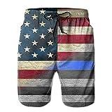KLING Pantalones Cortos de la Bandera Azul Americana Shorts de baño para Hombre Pantalones Cortos de Playa de Moda Pantalones Cortos Casuales Pantalones Cortos de Playa,L