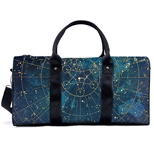 Sports Gym Bag,Star Map City Lights Handbag Yoga Bag Shoulder Tote Weekend Bag Travel Holdall Duffel Bag for Adult Men Women