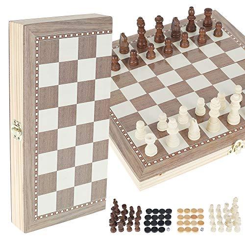 Schachspiel Schach Schachbrett Holz,Klappbar Chess Board Set mit Aufbewahrungsbox,Wooden Chess Set für Kinder Erwachsene 29x29cm