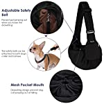 SlowTon Pet Sling Carrier, Dog Papoose Hand Free Puppy Carry Bag with Bottom Supported Adjustable Padded Shoulder Strap and Front Zipper Pocket Safety Belt for Small Pet Daily Use (Waterproof Black) 11