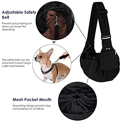 SlowTon Pet Sling Carrier, Dog Papoose Hand Free Puppy Carry Bag with Bottom Supported Adjustable Padded Shoulder Strap and Front Zipper Pocket Safety Belt for Small Pet Daily Use (Waterproof Black) 4