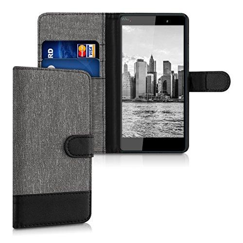 kwmobile Hülle kompatibel mit Wiko Fever 4G - Kunstleder Wallet Hülle mit Kartenfächern Stand in Grau Schwarz