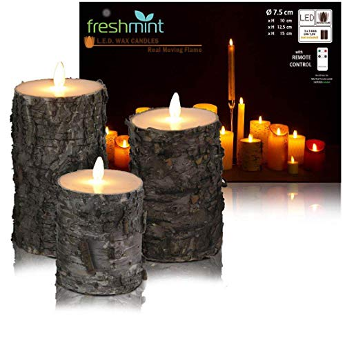 Christmas Flameless Candles Rustic Birch Bark Battery Operated with Remote, Real Moving Flame Decorative Electric LED Candle Sets Real Wax Flickering Pillar Candles Lights Bulk, 4' 5' 6' Pack of 3
