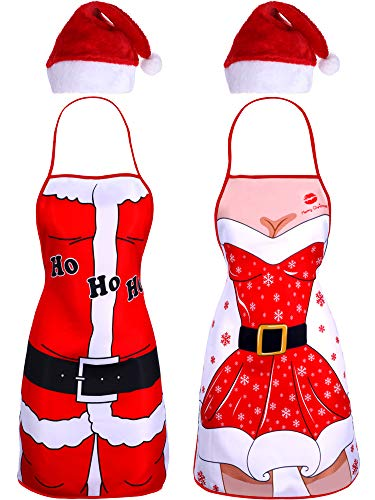Syhood 4 Pieces Christmas Kitchen Aprons and Santa Hat Set, Include 2 Pieces Santa Aprons Xmas Apron and 2 Pieces Red Santa Hat for Women Men Christmas Party Costume Supplies