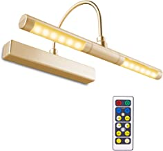 BIGLIGHT Wireless Battery Powered Bright LED Picture Light with Remote Control, 13 Inch Swivel Light Head with 3 Lighting Modes, Dimmable Lamp for Painting Photo Portrait Art Picture Frame, Gold