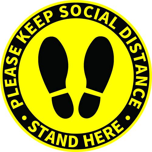 Social Distancing Floor Decals Stickers - 30 Pack 8'' Stand Here Safety Floor Sign Markers - Wait Here Keep 6 Feet Distance Stickers for Malls, Grocery, Pharmacy, Bank, Supermarket (Yellow)