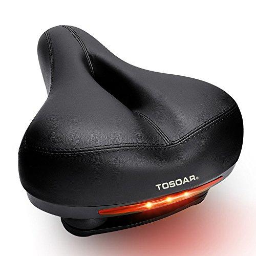 TOSOAR Fahrradsattel Bequemer Extra breiter Ergonomisch Fahrradsitz stoßfest Gepolsterter Memoryschaum Fahrrad Sattel MTB für Damen Herren Tourensattel (schwarz)