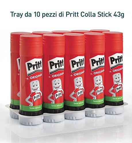 Pritt Colla Stick 10 x 43g, colla per bambini sicura e affidabile, colla Pritt per lavoretti e fai da te, con una tenuta forte per uso scuola e ufficio, 10 stick x 43g