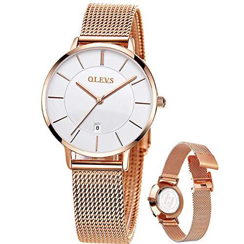 Reloj de pulsera OLEVS para mujer, de oro rosa, analógico, de cuarzo, de acero inoxidable, con correa de malla de acero inoxidable, informal, de moda, de oro rosa, con esfera...