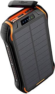 ZHONGHANG Newest 26800mAh Solar Power Bank with Dual Input and 3 Output Ports (Type C 3.1A + Micro USB 3.1A) IP66 Waterpro...