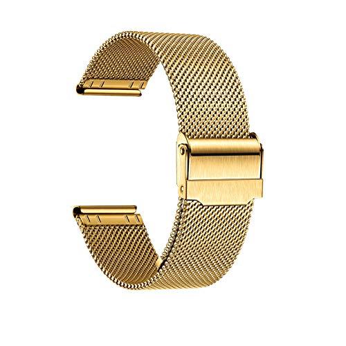 Uhrenarmband Verstellbares Edelstahlnetz Ersatz Uhrenarmband Atmungsaktiv Und Wasserdicht Schnellverschluss,Gold-24mm