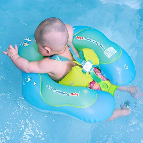 Free Swimming Baby Inflatable Baby Swimming Float Ring Children Waist Float Ring Inflatable Floats Pool Toys Swimming Pool Accessories for The Age of 3-36 Months(Blue, L)